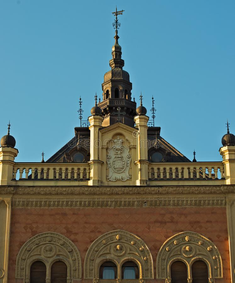 Biskopslott i den Zmaj Jovina gatan, Novi Sad, Serbien royaltyfria foton