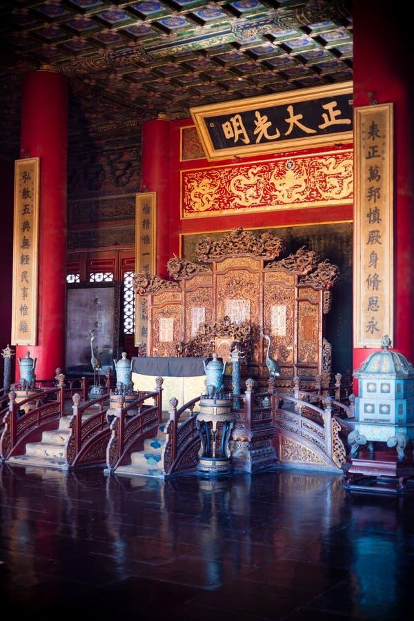 Biskopsstolen för kejsare s Forbiddenet City, Peking arkivfoto