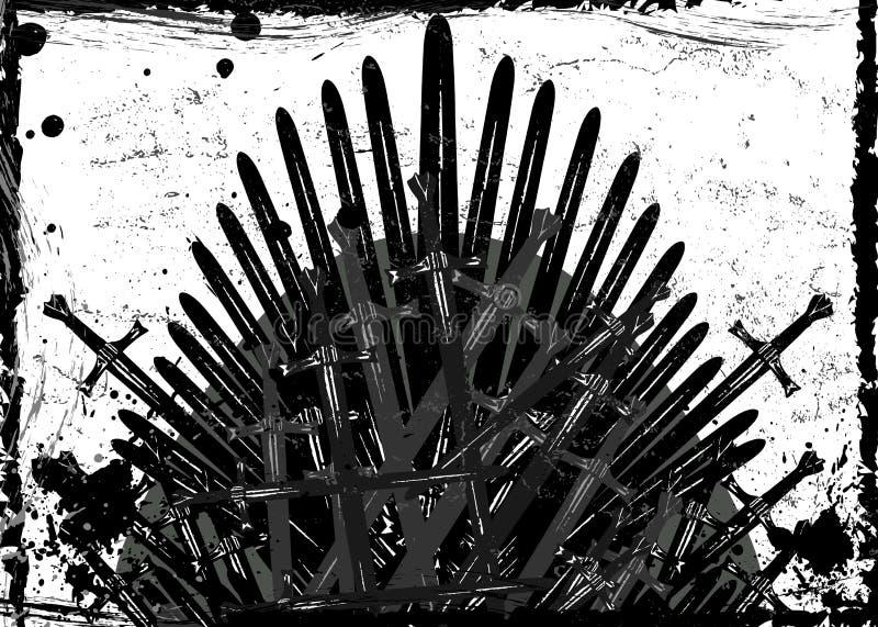 Biskopsstolfantasibegrepp Handen drog j?rnbiskopsstolen av Westeros gjorde av antika sv?rd eller metallblad Ceremoniell stol bygg vektor illustrationer