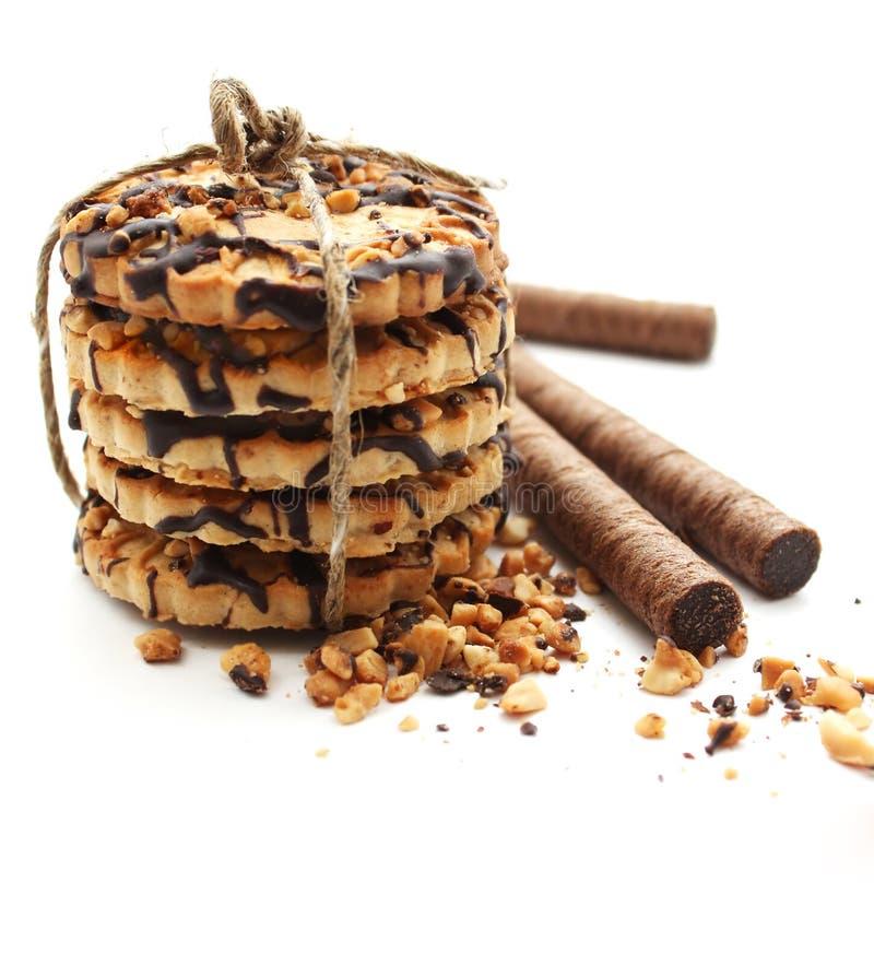 Biskuit der süßen Schokolade binden oben und Oblate rollt lizenzfreies stockfoto