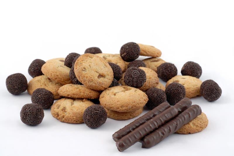 Biskuit- und Schokoladensteuerknüppel stockfotografie