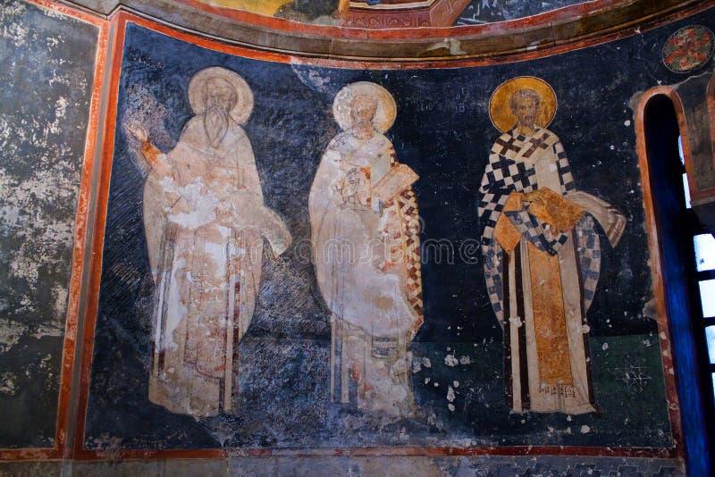 Biskup postacie zamknięte up na apsydy ścianie w Kariye kościół wewnątrz zdjęcie royalty free