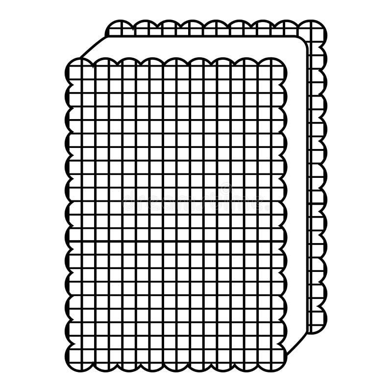 Biskwitowa lody ikona, zarysowywa kreskowego styl ilustracji