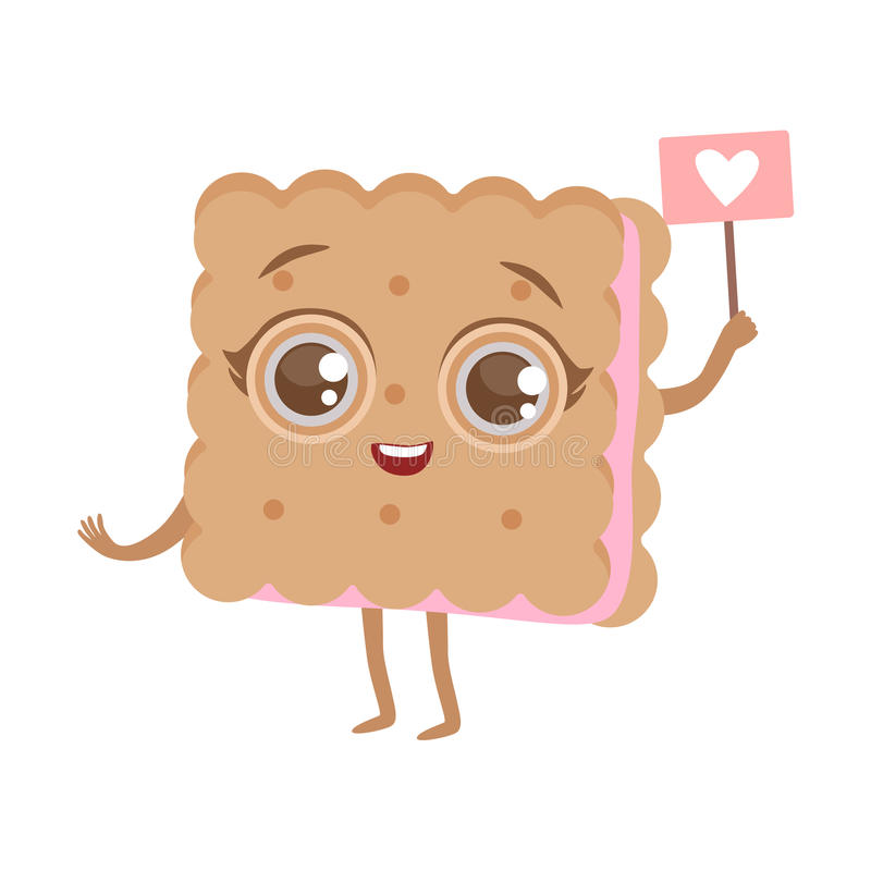 Biskwitowej kanapki Anime Ślicznej Zhumanizowanej kreskówki charakteru Emoji wektoru Karmowa ilustracja ilustracji