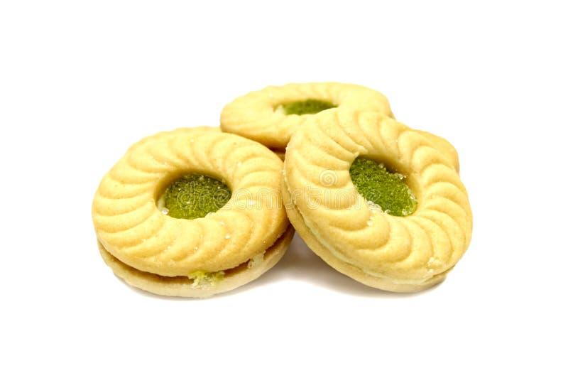 Biskwitowi kanapki masła ciastka z śmietanką, kiwi i jabłko flavoured przyskrzyniają obrazy stock