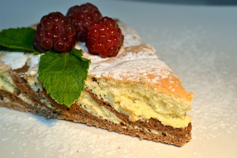 Biskwitowy czekoladowy malinki i mennicy kulebiak obrazy stock