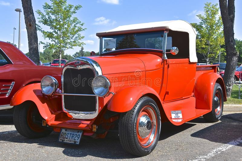 Ford 1929 red restored Roadster. BISMARCK, NORTH DAKOTA, August 4, 2018: The Capital A`Fair in Bismarck features the `Fords and Mustangs` car show where this royalty free stock images