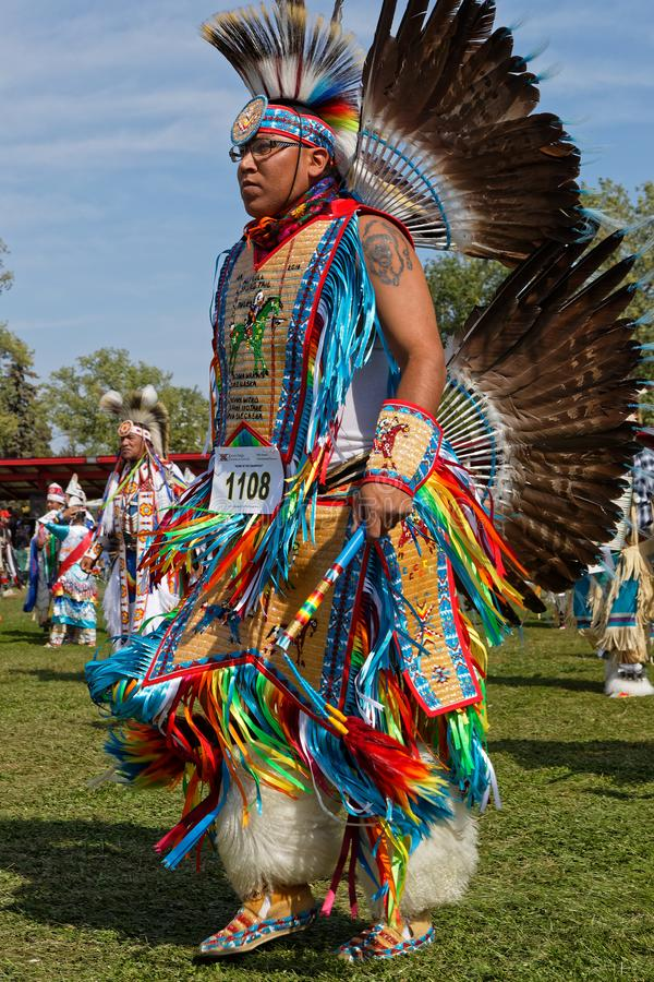 A dancer of the 49th annual Pow Wow in Bismark, North Dakota. BISMARK, NORTH DAKOTA, September 8, 2018 : A dancer of the 49th annual United Tribes Pow Wow, one royalty free stock photography