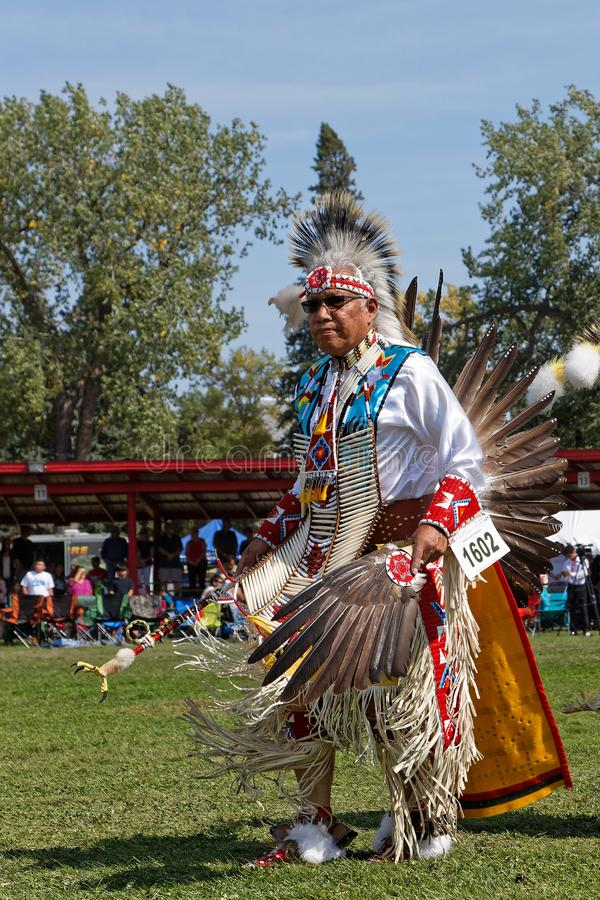 Senior dancer of the 49th annual United Tribes Pow Wow in Bismark. BISMARK, NORTH DAKOTA, September 8, 2018 : A dancer of the 49th annual United Tribes Pow Wow stock images
