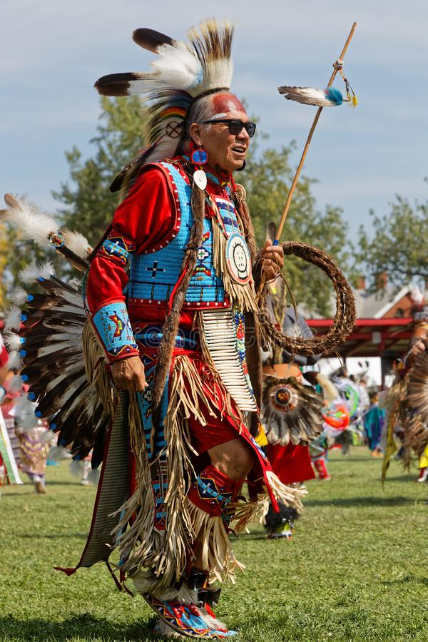 Big chief dancer of the 49th annual United Tribes Pow Wow. BISMARK, NORTH DAKOTA, September 8, 2018 : A dancer of the 49th annual United Tribes Pow Wow, one stock image