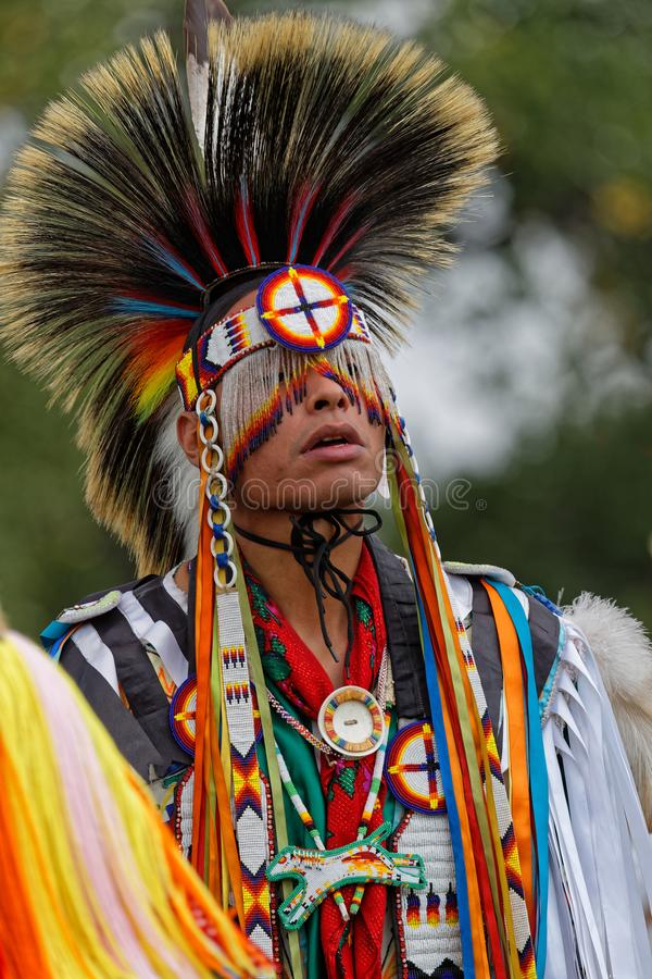 Portrait of a fancy dancer of the 49th Pow wow of Bismark. BISMARK, NORTH DAKOTA, September 9, 2018 : A dancer of the 49th annual United Tribes Pow Wow, one stock photos