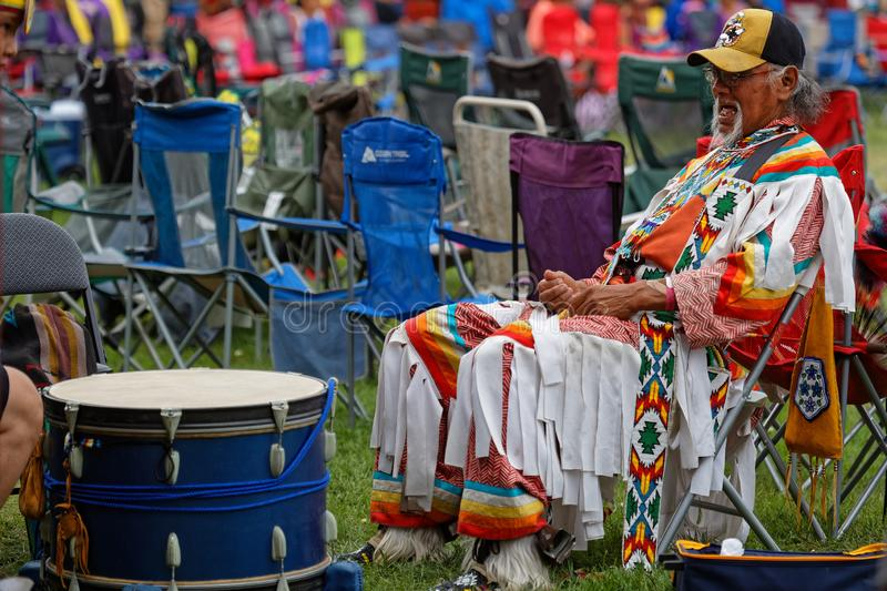 Drummer waiting at the 49th annual United Tribes Pow Wow. BISMARK, NORTH DAKOTA, September 9, 2018 : Drummer at the 49th annual United Tribes Pow Wow, one large stock photos