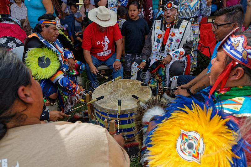 Drummers at the 49th annual United Tribes Pow Wow. BISMARK, NORTH DAKOTA, September 9, 2018 : Drummers at the 49th annual United Tribes Pow Wow, one large stock photo