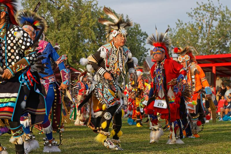 Grand Entry dances of the 49th annual United Tribes Pow Wow. BISMARK, NORTH DAKOTA, September 8, 2018 : Grand Entry of the 49th annual United Tribes Pow Wow, one stock image