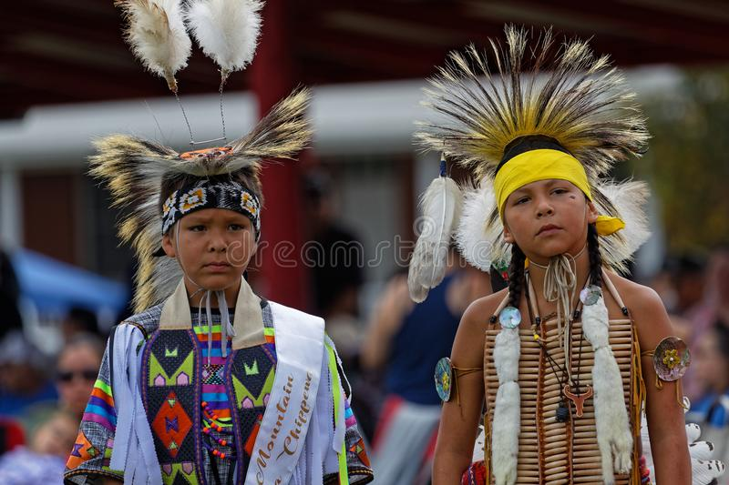 Two young Sioux at the 49th annual United Tribes Pow Wow. BISMARK, NORTH DAKOTA, September 9, 2018 : Sioux children at the 49th annual United Tribes Pow Wow, one stock photo