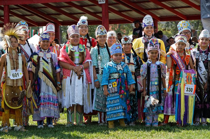 A group of Sioux children at the 49th annual United Tribes Pow Wow. BISMARK, NORTH DAKOTA, September 8, 2018 : Sioux children at the 49th annual United Tribes stock image