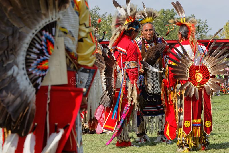 Meeting at the 49th annual United Tribes Pow Wow. BISMARK, NORTH DAKOTA, September 8, 2018 : 49th annual United Tribes Pow Wow, one of largest outdoor event stock images