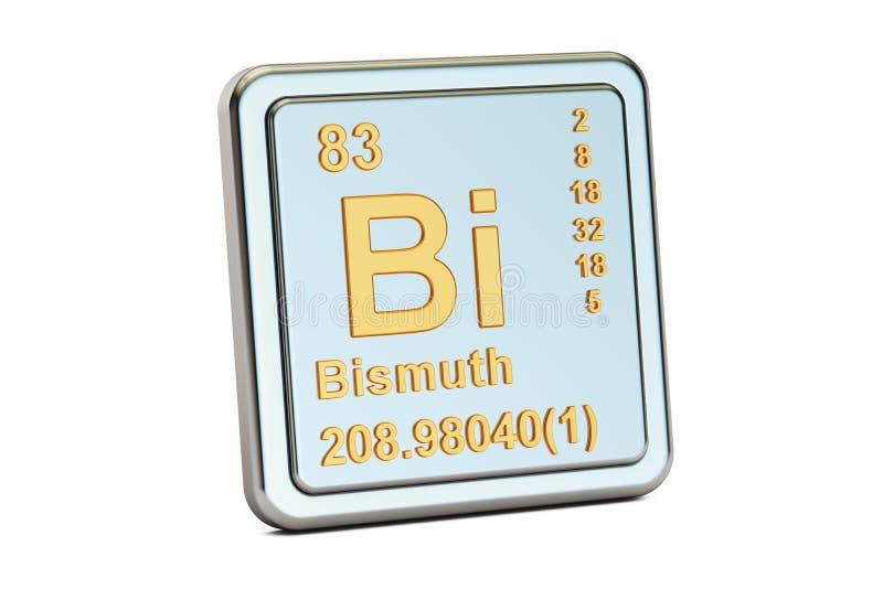 Bismuth Bi, chemical element sign. 3D rendering royalty free illustration