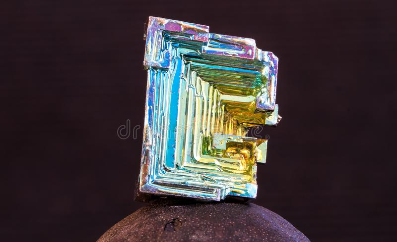 Bismuth crystal up close stock photo