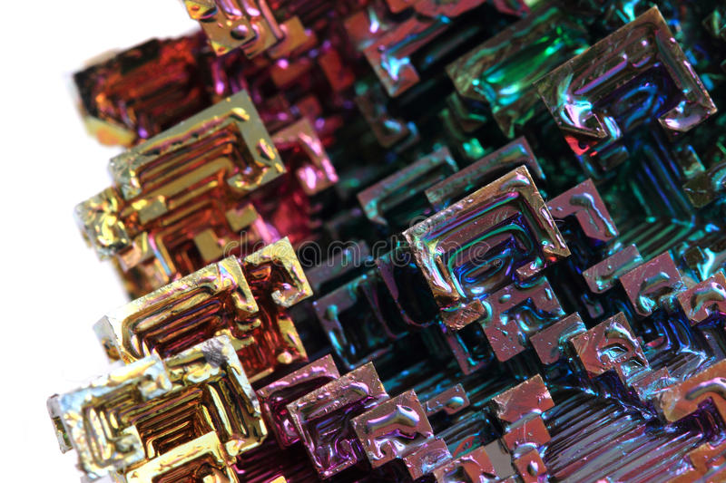 Bismuth - rainbow metal stock images