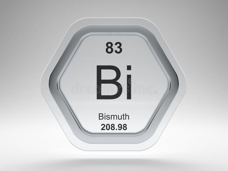 Bismuth symbol hexagon frame stock illustration