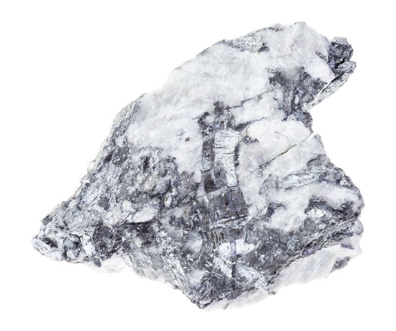 Bismuthinite cru (minério para o bismuto) em branco fotos de stock