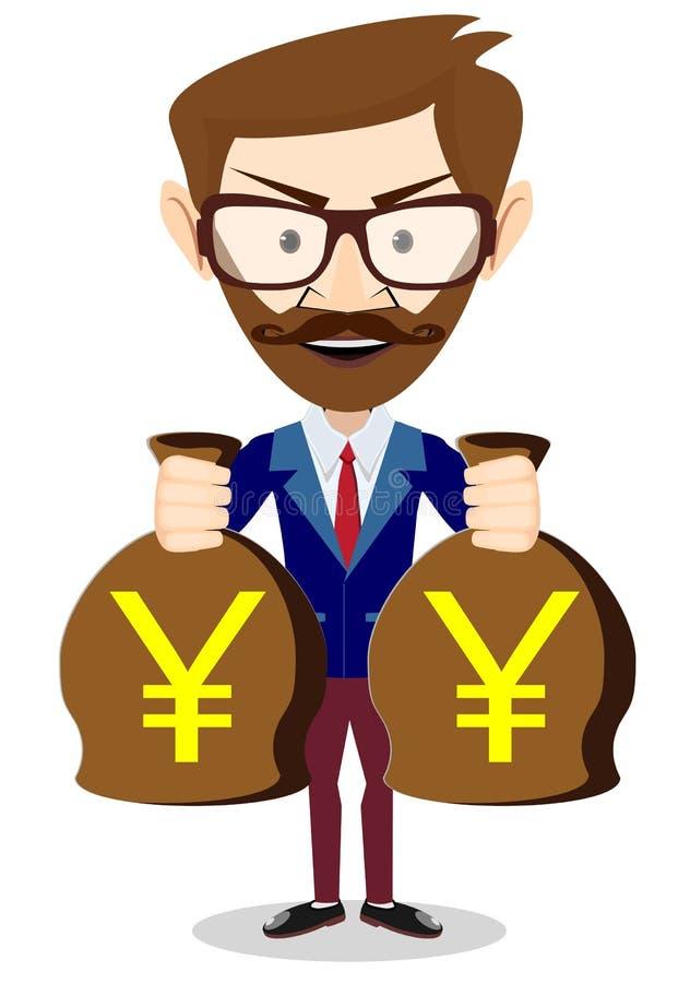 Bisnesmen torba trzyma jen, wektorowa ilustracja royalty ilustracja