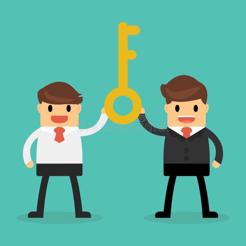 53.Bisnessman holding a golden key to success , Successful teamwork concept stock photo