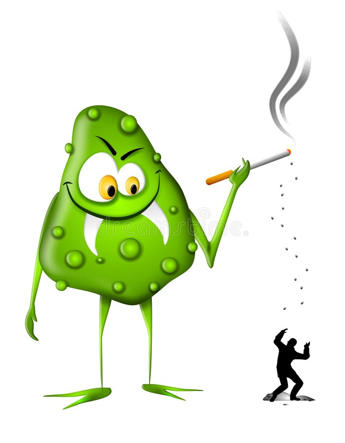 Bisogni di fumo del mostro del nicotina illustrazione di stock