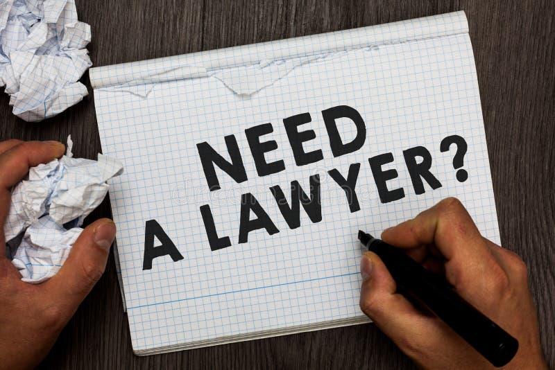 Bisogno di rappresentazione della nota di scrittura una domanda dell'avvocato Foto di affari che montra problema legale che cerca fotografia stock