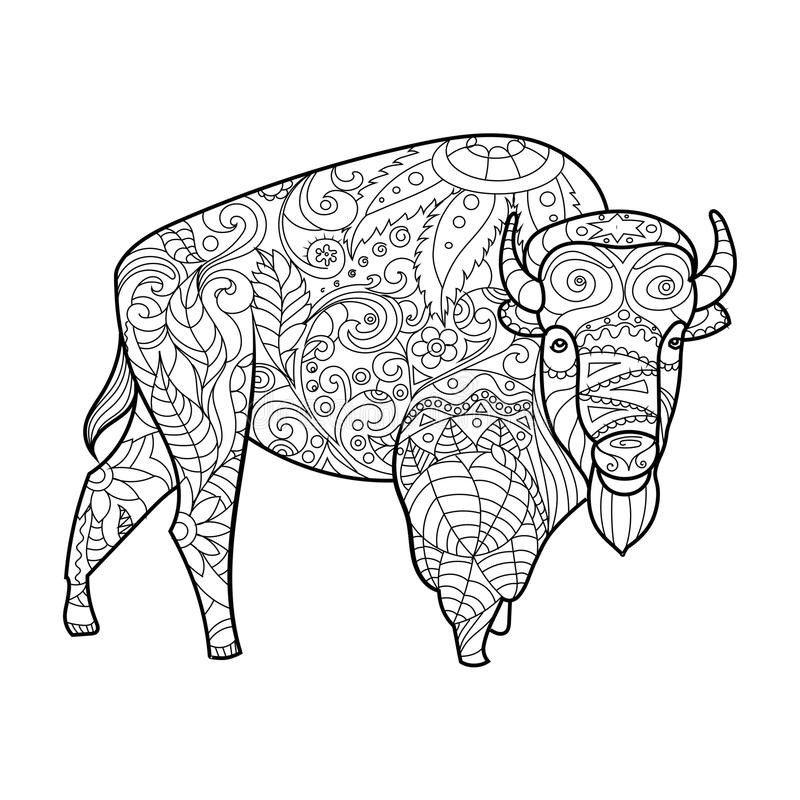 Download Bison Animal Coloring Book For Adults Vector Stock