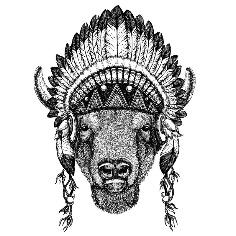 Bison, boeuf, buffle zoo Animal sauvage portant la coiffe inidan avec des plumes Illustration chic de style de Boho pour le tatou illustration stock