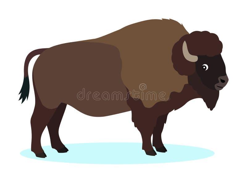 Bison brun sauvage, icône de buffle, d'isolement sur le fond blanc illustration de vecteur