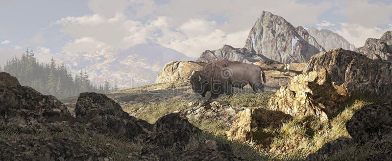 Bison dans Yellowstone illustration de vecteur