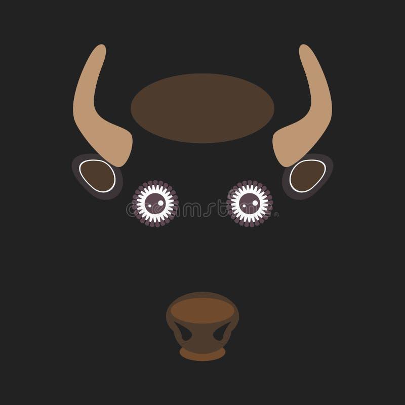 Bison drôle de taureau sur le fond de brun foncé Vecteur illustration libre de droits