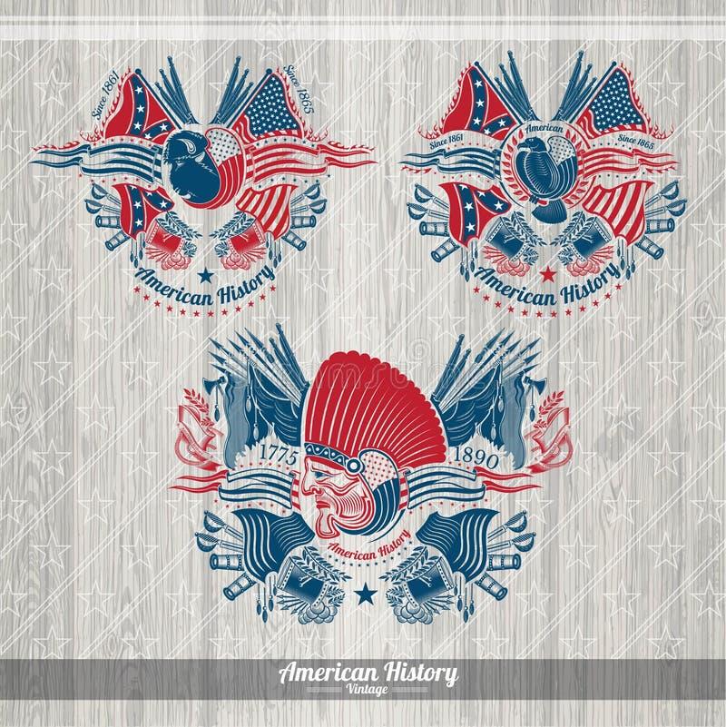 Bison et aigle indiens avec des drapeaux et des armes autour Bannières américaines réglées de militaires d'histoire illustration de vecteur