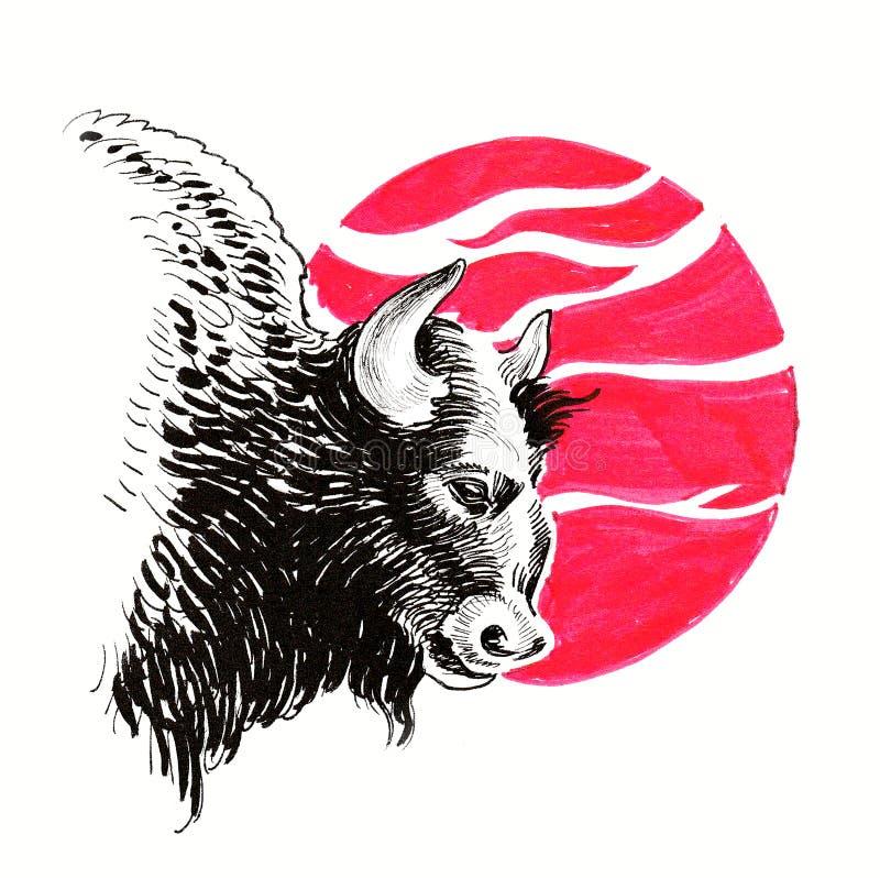 Bison et crâne illustration stock