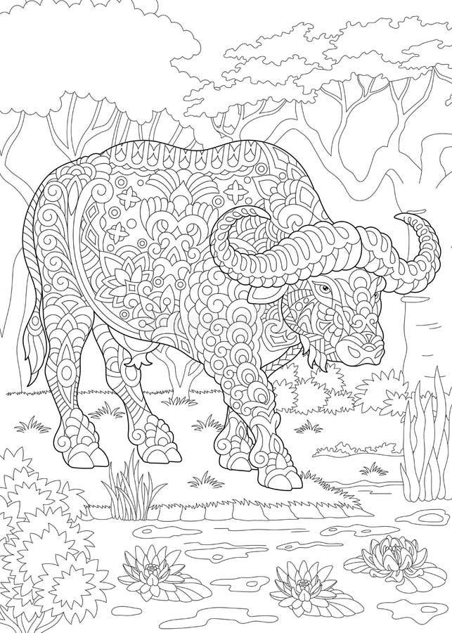 Bison för Zentangle tjurbuffel stock illustrationer