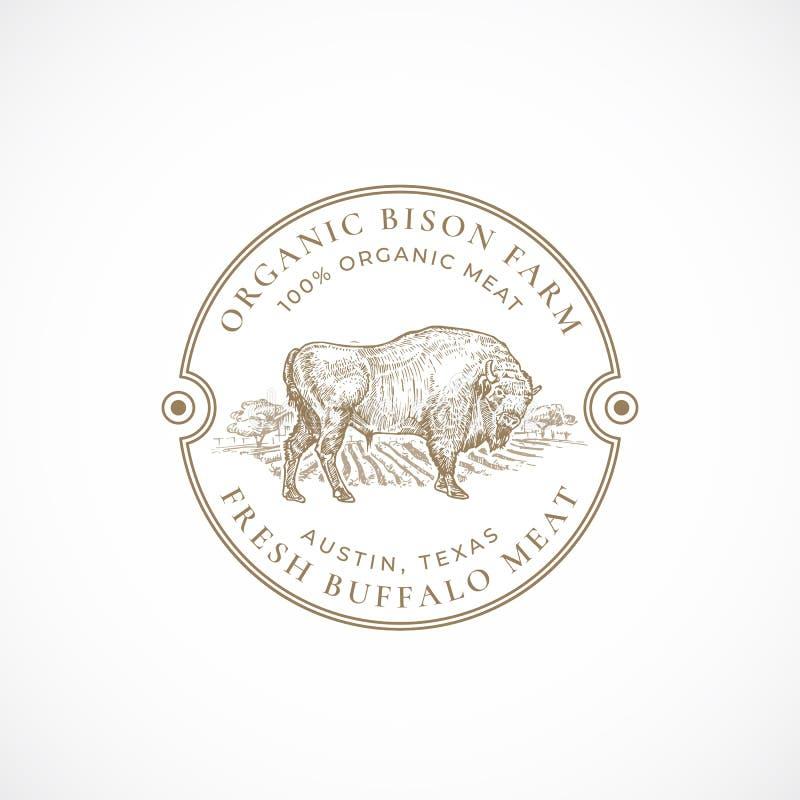 Bison Farm Framed Retro Badge o Logo Template orgánico Búfalo exhausto Bull de la mano y bosquejo del paisaje de la granja con re libre illustration
