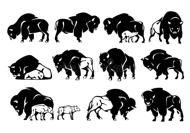 Bison Figure Set Silueta negra stock de ilustración