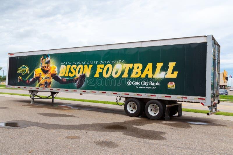 Bison Football Mural på den North Dakota delstatsuniversitetet royaltyfria bilder