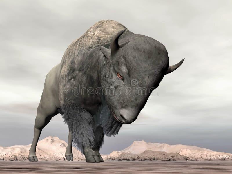 Bison charging - 3D render royalty free illustration