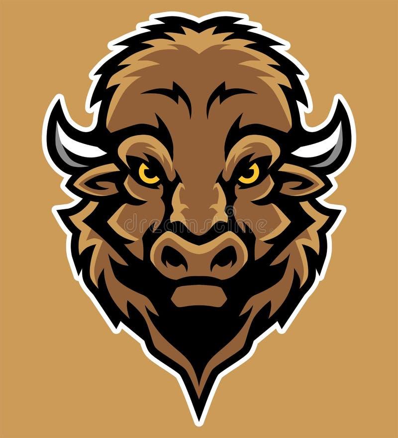Bison Head Mascot Illustration in Beeldverhaalstijl royalty-vrije illustratie