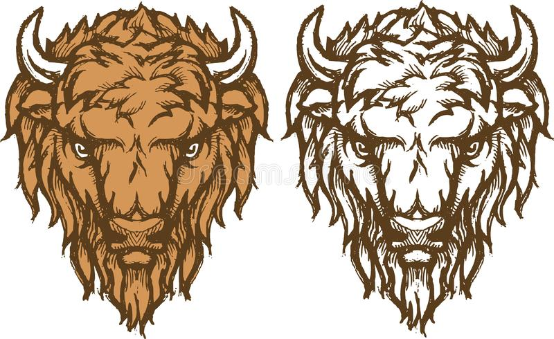 Bison Head Sketch illustration libre de droits