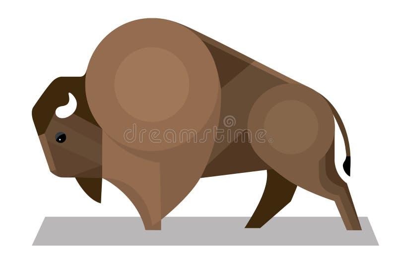 Bison i en minimalist stil royaltyfri illustrationer