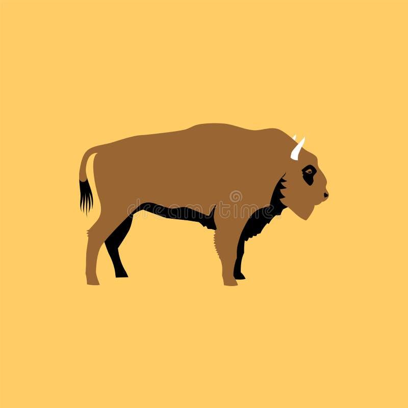 Bison plat d'isolement Icône de caractère d'animal sauvage illustration de vecteur