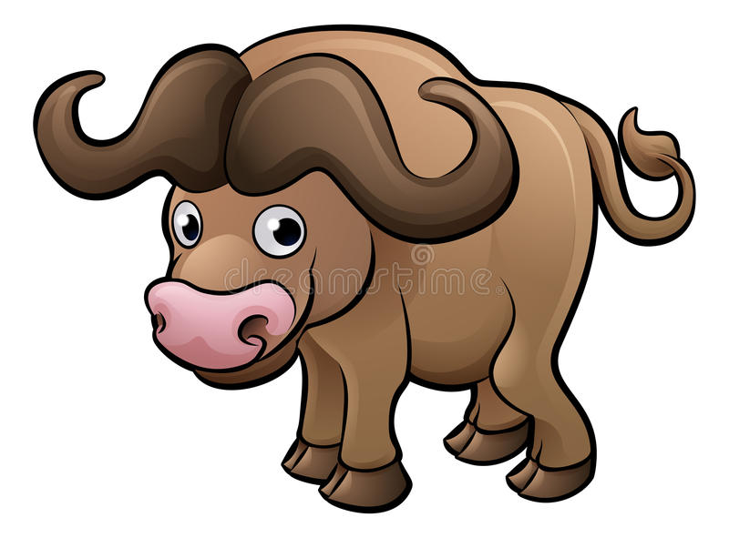 Bison Safari Animals Cartoon Character illustration de vecteur