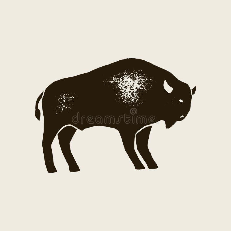 Bison Silhouette Icon Símbolo do bisonte da tração da mão do vetor de América no estilo retro com textura do Grunge ilustração royalty free