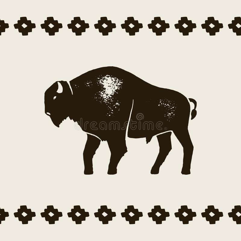Bison Silhouette Icon Symbol för bison för vektorhandattraktion av Amerika i Retro stil med Grungetextur royaltyfri illustrationer