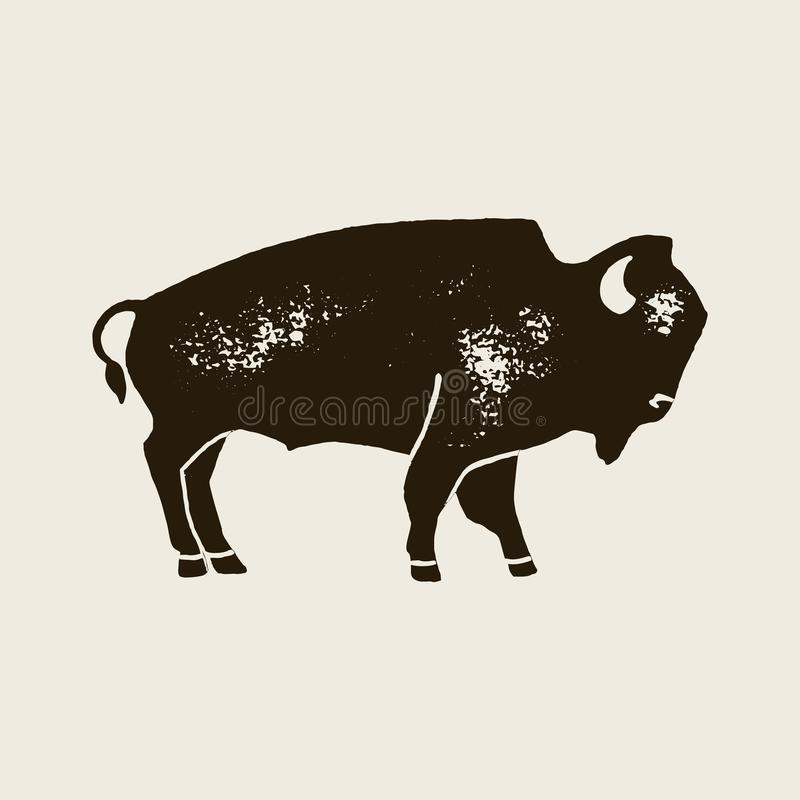 Organic Bison Farm Framed Retro Badge Or Logo Template